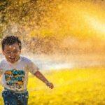 Happy boy running