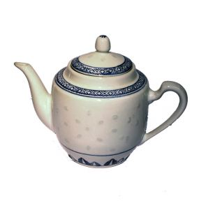 Round White Teapot With Blue Pattern