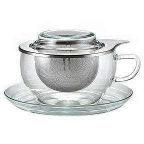 GLASS CUP AND SAUCER WITH INTEGRAL INFUSER