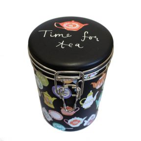 Tea Caddy - Teapots on Matt Black (Clip Lid)