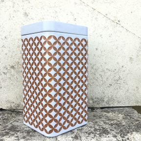 TEA TIN - GOLD GEOMETRIC DESIGN