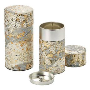 SILVER AND GOLD FLORAL TEA CADDY