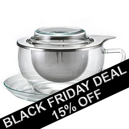 Glass Tea Cup & Saucer With Infuser