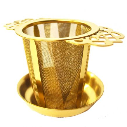 GOLD STAINLESS STEEL FILIGREE TEA INFUSER