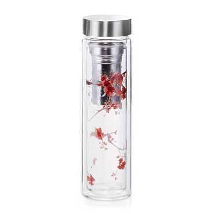 Glass Thermal Tea Flask - Cherry Blossom