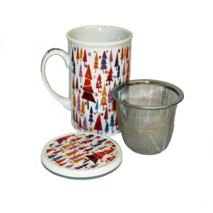 Christmas Trees Mug With Infuser And Lid