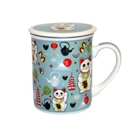 Maneki Lucky Cat Mug With Lid And Infuser