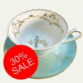 Bird Cup and Saucer - Mint and Gold