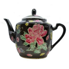 Black And Floral Round Teapot
