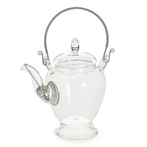 Curvy Glass Teapot With Ornate Handle