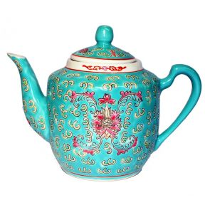 Round Teapot Turquoise Flower (Medium)