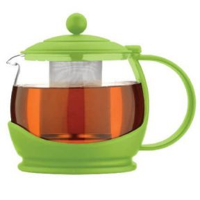 Glass Teapot With Infuser Basket - Green