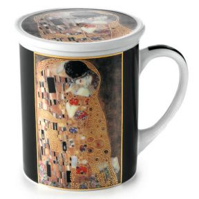 HERB TEA INFUSER MUG KLIMT KISS