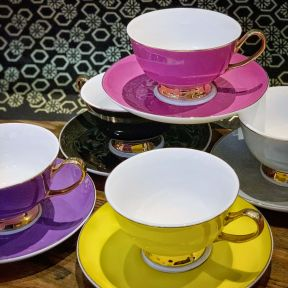 Coloured Cup and Saucer