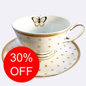 Gold Spotty Cup and Saucer