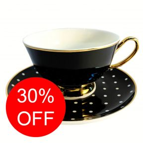 Black and White Spotty Cup and Saucer