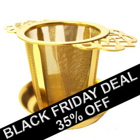 Stainless Steel Filigree Handled Tea Infuser - Gold