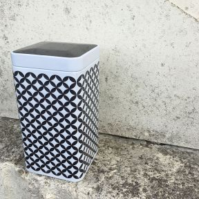 TEA TIN - GREY GEOMETRIC DESIGN