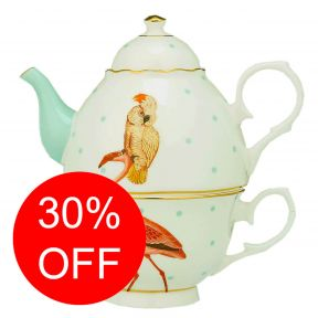 Parrot and Flamingo Tea For One