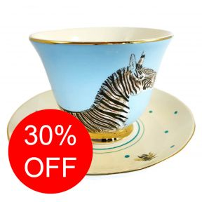 Zebra and Parrot Cup and Saucer