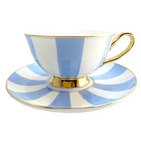 Stripey Blue and White Cup and Saucer