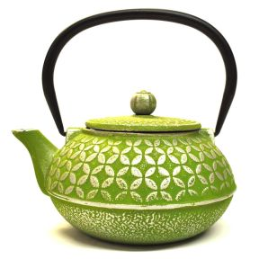Cast Iron Teapot - Green Geometric Pattern