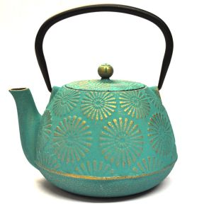 CAST IRON TEAPOT - TURQUOISE AND GOLD FLORAL