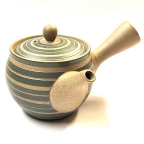 Side Handled Tokoname Teapot - Green And Grey