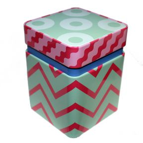 Tea Tin - Blue, Green and Pink Stripes
